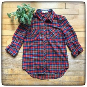 Love Tree flannel button up, red green blue plaid